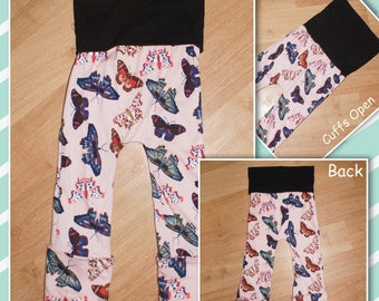 Maxaloones - Grow with Me - Lounge Pants - Comfy Pants - Pink with Butterflies