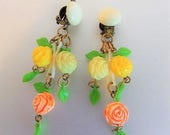 ON SALE Beautiful Vintage Deco Celluloid Floral Earrings Germany