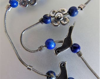 Vintage Liquid Silver Sterling Fetish Lapis Bead Necklace