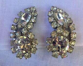 Heirloom Rhinestone Clip on Earrings Bridal Jewelry Mid Century Estate Jewelry