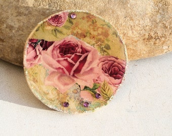xxl wooden cab, old english roses, vintage flower, supply, scrap or jewel