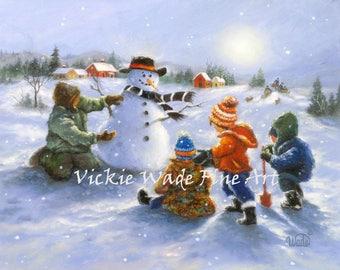 Snowman and Four Boys Art Print four brothers, four sons, snowman paintings, snowman wall art, snowmen art, Christmas art Vickie Wade art