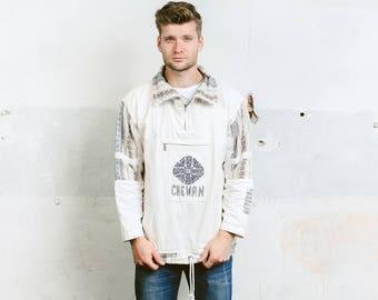 Mens Aztec Jacket . Vintage 80s Mexican Anorak Jacket White Denim Striped Aztec Shirt 90s Southwestern Hippie Jacket . size Medium