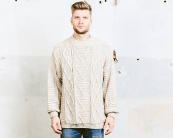 Men's Turtleneck Fishermen Sweater . Vintage 90s Chunky Knit Sweater Oversized Mock Neck High Neck Wool Minimalist Sweater . sz Extra Large