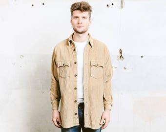 Vintage LEVIS Corduroy Shirt . Jacket 90s Men's Beige Minimalist Shirt 90s Grunge Jacket Overshirt Boyfriend Gift . size Medium