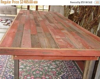 SANTA SALE FREE Shipping 9 1/2 Ft Reclaimed Barn Wood , Harvest Table,