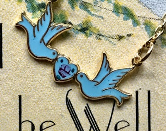Sarah coventry Necklace,Bird Necklace,love birds necklace,Vintage Necklace Guilloche Blue Bird Enamel Rose Girl,Party Favors,Gift,NOS #1181C