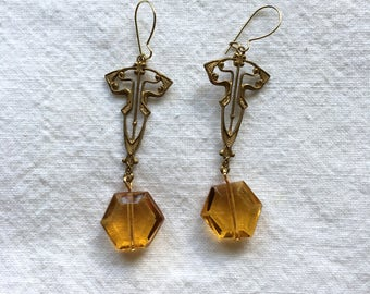Art Nouveau Style with Vintage Amber Glass Dangle Earrings