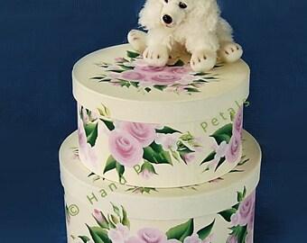 Baby Keepsake Box Set, Nursery Storage Box - Stacking Hat Box Set of 2, Classic Pink Rose Design Baby Keepsake Boxes Baby Shower Gifts