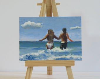 Original Aceo, small acrylic painting, beach painting, miniature art