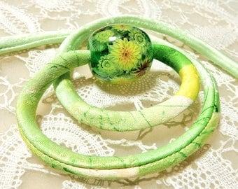 Necklace of Sunflower Garden Satake Glass Lampwork Flower Bead and Antique Kimono Fabric Cord sra