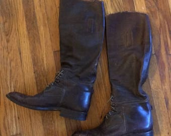 Rare Vintage 1940s Chocolate Brown Leather Riding Boots Size 9 Women