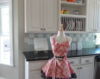 Chocolate Cake Anyone in Chocolate Brown and Coral Pink  ~ Sadie Style  ~ Women's Retro Full Apron - ~ 4RetroSisters