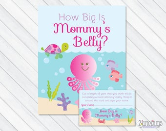 Under the Sea How Big Is Mommy's Belly Baby Shower Game, Pink Belly Guessing Game, Guess Mommy's Belly Size, PRINTABLE INSTANT DOWNLOAD