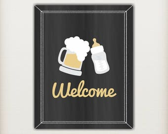 A Baby is Brewing Baby Shower Welcome Sign, Baby Shower Table Sign, Door Sign, Co-ed Couples Shower, Black Gold, PRiNTABLE INSTANT DOWNlOAD