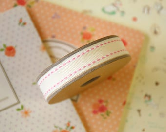 Cream with Pink Stitches ribbon