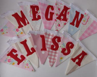 Custom pink girls name bunting (up to 10 letters)