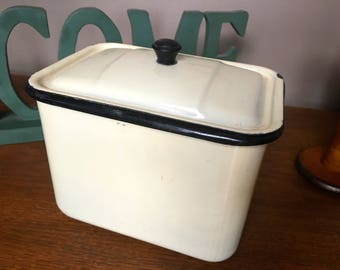 Retro Vintage ENAMEL Medical STERILIZER with Lid Ivory and Black
