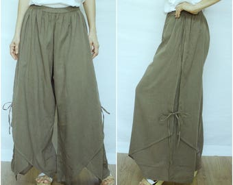 Summer Vacation - Boho Funky Dusty Olive Green Light Cotton Double Layer Wide Legs Pants Size8 To Size16