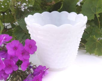 Vintage 1950's Fire King Oven Ware Milk Glass Hobnail Vase