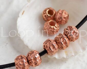 25%OFF 4 Bali Style Mykonos Greek beads, Bright Rose Gold on copper, Rustic dotty Ball round bead, beads with circles 7mm