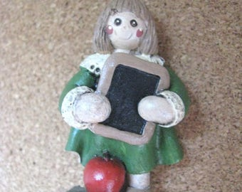 Resin Back to School girl Pin Brooch with Books Apple