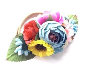 Flower Headband - Silk Flower Garland Hairband - Baby Headband - Newborn Photo Prop - Fall Holiday - Rainbow Wildflowers - Woodland Baby