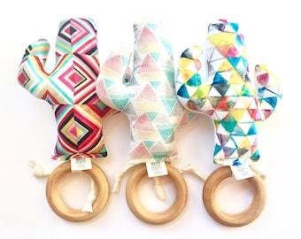 Cactus Teething Ring - Southwest Style - Boho Baby - Natural Wood Ring for Teething  - Saguaro Succulents - Modern Geometric Brights