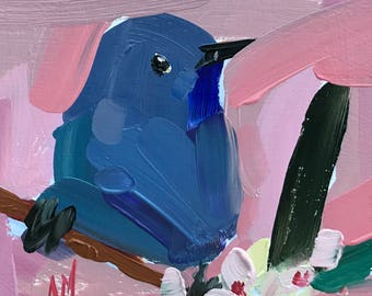 Bluebird no. 98 Original Bird Oil Painting by Angela Moulton pre-order
