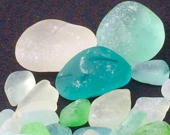 Sea Glass or Beach Glass of Hawaii beaches! DEEP AQUA! Sky BLUE!  For pendants! Seaglass for jewelry! Bulk Sea Glass! Sea Glass Bulk