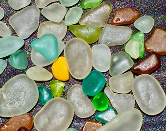 Sea Glass or Beach Glass of Hawaii 50 BLUE HEART! Rare solid ORANGE!  Bulk Sea Glass! Sea Glass Bulk! Seaglass