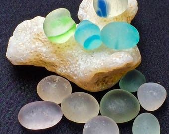 Beach Glass or Sea Glass  of Hawaii's Beaches Sea Glass SIX MARBLES! 4 RINGS! Very Worn! Holiday Gift! Sea Glass Marbles! Bulk Sea Glass!