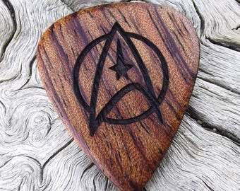 Handmade Wood Guitar Pick - Premium Quality -  Made From African Bubinga - Engraved On Each Side - Artisan Guitar Pick - No Stock Photos