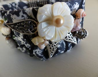 gray black Polynesian fabric Cuff Bracelet