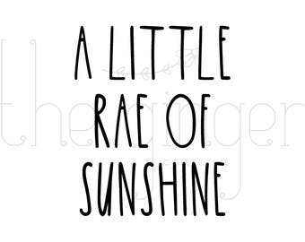 Rae Dunn Inspired 'A Little Rae Of Sunshine' Farmhouse Style Quote PNG