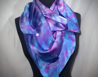 Fuchsia and Cyan Extra Large Silk Scarf//Square//Hand Dyed