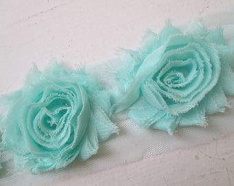 Aqua Blue Shabby Flowers, Teal Chiffon Rose Trim, Sea Foam Wedding Flower Supplies, DIY Fabric Flowers for Jewelry, Bridal Garters, Headband