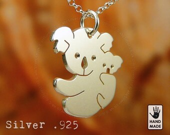 Tiny Cute Koala Bear with Baby Handmade Sterling Silver .925 Necklace in a gift box