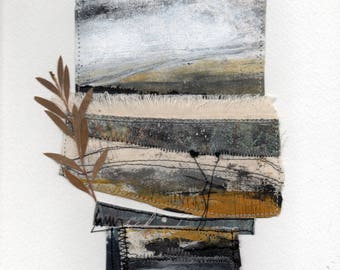 Dartmoor 2 - An Abstract interpretation of Dartmoor - A Mixed Media Textile, Paper, Stitching and Paint Picture