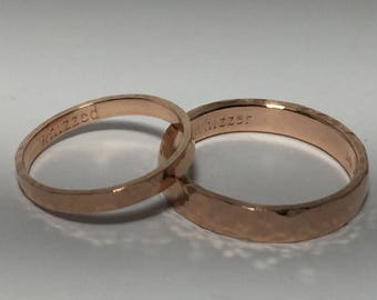 14kt solid rose gold wedding ring set his and her, solid gold bands, hammer rose gold rings