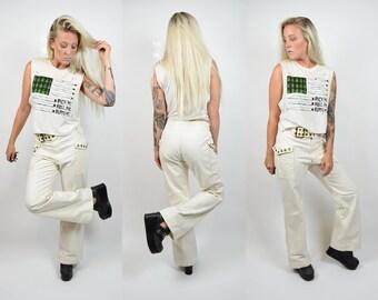 vtg 60s White Crisp Sailor Wide Leg Pants w Gold Grommet Belt and Pocket UNISEX Rare Bell Bottoms 28 5/6 Androgynous