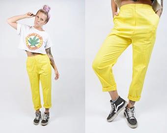 VTG 70s Paco Rabanne Neon Yellow High Waist Cotton Trouser Cropped Pants Paris Designer Rainbow Bright 4 5 6 Vintage 80s
