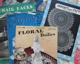 Vintage Embroidery Crochet and Tatting Booklets 1930's-1940's Set of 6 Books with Photos and Instructions