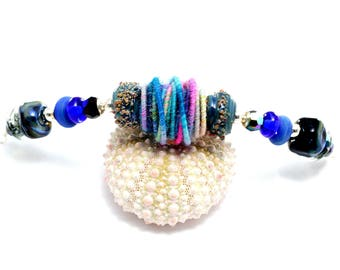 Colorful Lampwork Bead Necklace. Artisan Fiber Bead Necklace. Boho Gypsy Ethnic Necklace. Gifts For Her. Glass Bead Jewelry.