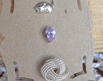 Vintage Mismatch Sterling Silver Trio of Single Studs. The Cats Meow Earrings. Purple Stud. Twisted Wire. Sleeping Cat