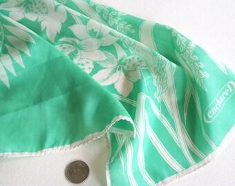 Floral Cacherel scarf, silk Cacherel scarf, Glentex scarf, graphic floral pattern, emerald green scarf, sea foam scarf, green white scarf