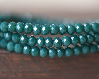 Crystal Glass Faceted Rondelle Beads, Opaque Green 3x4mm -(BZ04-158) / 145pcs