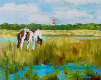 11 x 14 Modern Impressionist Chincoteague Pony Landscape Original Oil Painting by Rebecca Croft