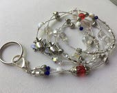 Silver Airplane Lanyard with Red, White & Blue