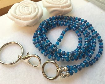 Mixed Blue ID Badge Lanyard with glass beads and removable silver lobster claw clasp